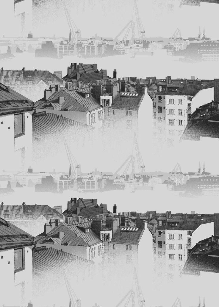 <p><span>Aamu-usva pimennyskankaan kuosi taltioi kauniin näkymän Helsingin ydinkeskustan kattojen ylle: Kampin kerrostalojen kuparikatot, kattohuoneistot kattoikkunoineen, tuuletusparvekkeet ja leveät savupiiput. Näkymä on usvaine