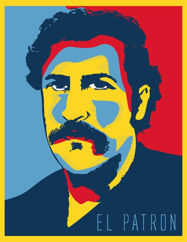 """Illustracion de Pablo Escobar Tecnica Pop Art """"Retro"""" Prefiero un narco padrino de pobres y no un puñado de políticos corruptos By Carlos Garcia"""