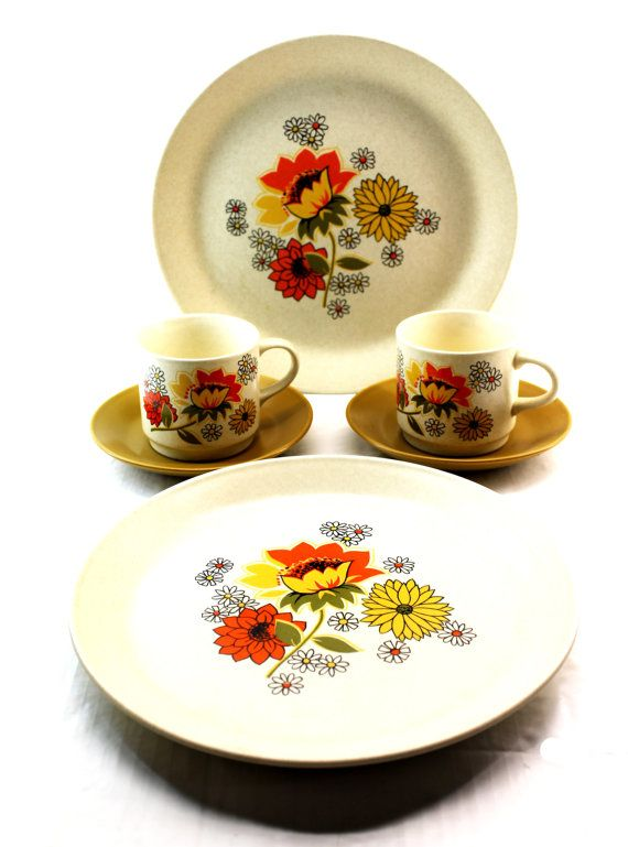 Johnson of Australia Plate and Teacup Set x 2 - Retro Floral Dinnerware. $29.70, via Etsy.