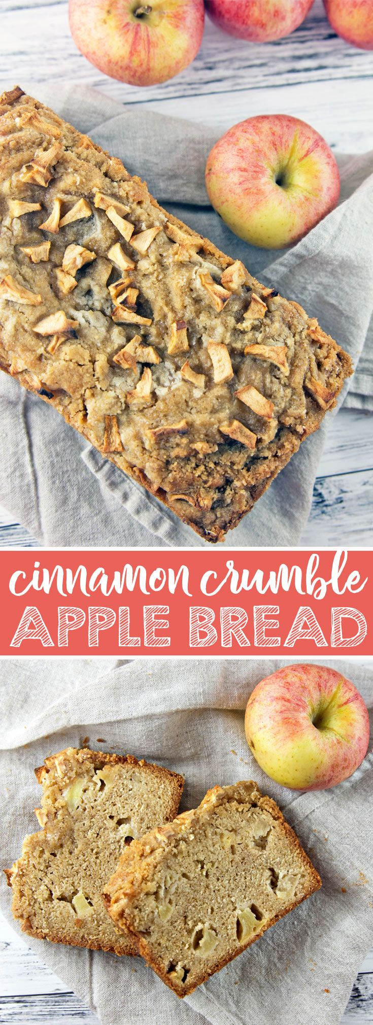 Cinnamon Apple Crumble Bread: whisk-by-hand fall baking at its finest. All the delicious flavors of fall, but so much easier than a pie. Perfect to share! {Bunsen Burner Bakery} via @bnsnbrnrbakery