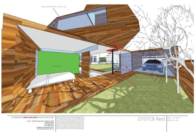 Reid house, perspectival section, use of colour exaggerated, use of labels to show spaces. Trees unnatural.  http://www.maynardarchitects.com/Site/houses/Pages/Reid_House.html#0