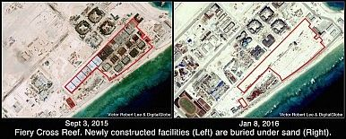 Fiery Cross Reef. New buildings now covered with sand. Analysis by Victor Robert Lee.