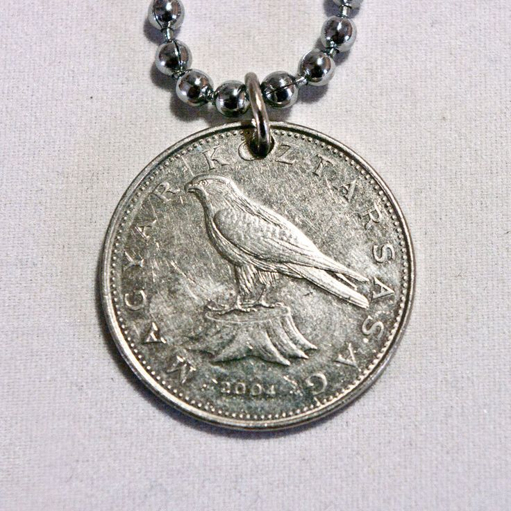 Magyar, Hungary Coin Necklace, Bird Hawk, 50 forint 2004, Coin Pendant, Coin jewelry, Key chain by AlterDecoCoinsnBeads on Etsy