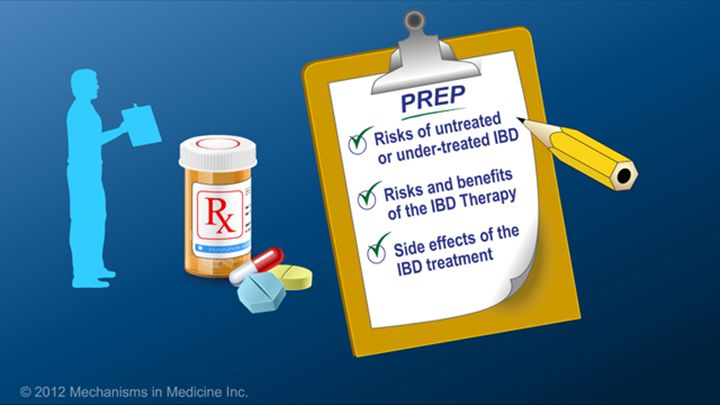 Patients can prepare themselves for inflammatory bowel disease (IBD) therapy by understanding the risks of untreated or under-treated IBD, learning about the risks and benefits of the therapy, and being aware of the side effects associated with the treatment.slide show: preparing for ibd therapy. this slide show describes ways patients with inflammatory bowel disease ibd can prepare for their therapy and medications.