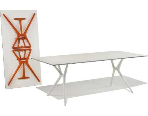 white folding table - but what's best is that your feet aren't going to get tangled up in the legs like typical folding tables!