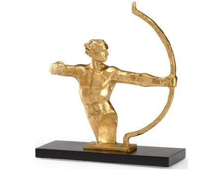 Wildwood Lamps Archer Cast Composite In Gold Leaf Black Mounting Sculpture