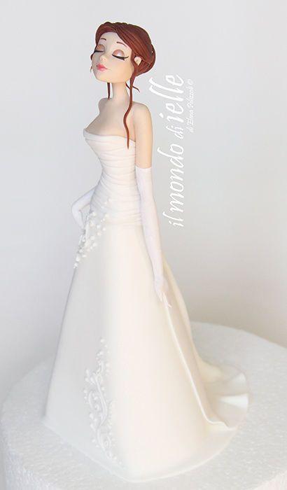 Beautiful clay cake topper-bride girl