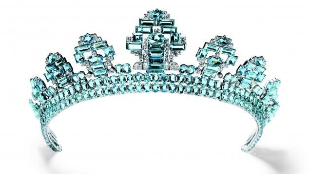 Just a little something...  Tiara Cartier London, 1937. Platinum, round old-cut diamonds, oval and fancy-cut aquamarines © Cartier. Photo by Nick Welsh