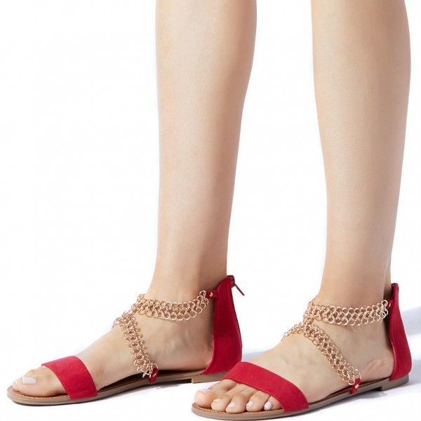Red Summer Sandals Open Toe Flats Suede Shoes with Chain for