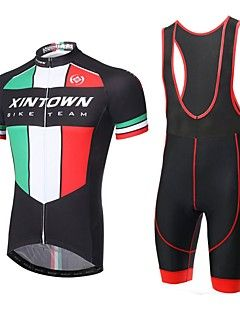 XINTOWN  Men's Breathable Lightning Quick Dry Moisture Absorption Short Sleeve and Suspender Cycling Suits