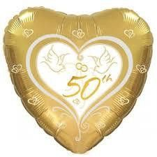 Helium Filled 50th Anniversary Gold Heart Foil Balloon   Anniversary Party Theme & Supplies
