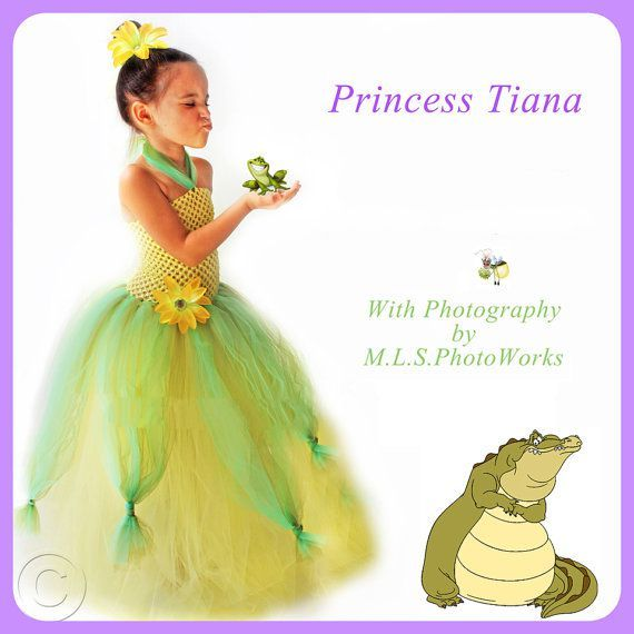 Handmade Tiana Inspired Tutu Dress Costume http://www.tutusweetshop.com/item_864/Handmade-Tiana-Inspired-Tutu-Dress-Costume.htm