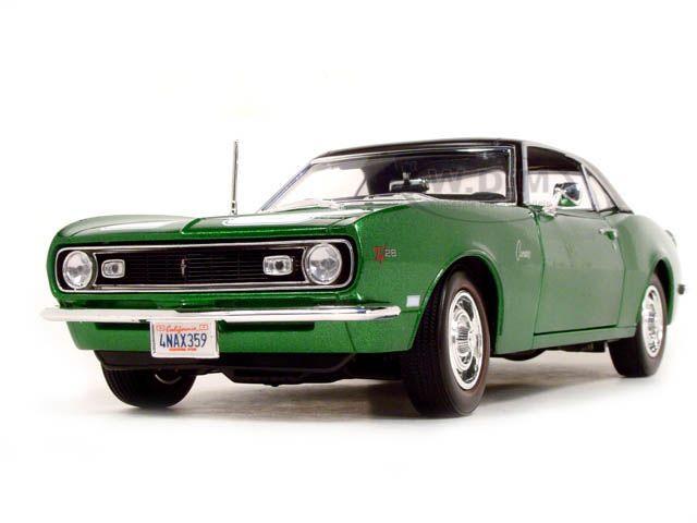 1968 chevrolet camaro z 28 coupe diecast model green 1 18 die cast car