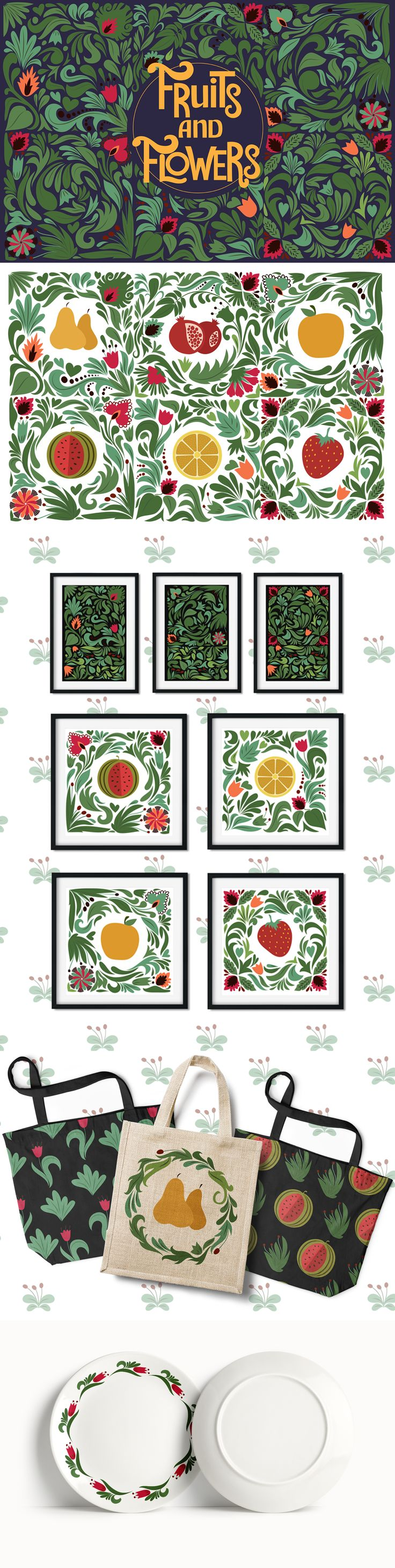 Welcome to the Fruits and Flowers set! Combine the flowers, elements and wreaths.This set is perfect for packaging, invites,greeting cards, merchandise design.