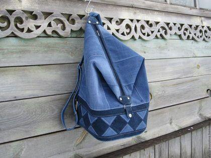 Купить или заказать Джинсовая сумка-рюкзак 'ТРАНСФОРМЕР' в интернет-магазине на Ярмарке Мастеров. Предлагаю Вашему вниманию, сумку - трансформер. Вы любите посещать спортзал или бассейн, а может любите ходить за покупками... Вам всегда не хватает места в Вашей сумочке, тогда эта сумка-рюкзак для Вас... Не сложными манипуляциями сумку можно превратить в рюкзак и наоборот!! Внутри сумки, на подкладе имеется карман с двумя отделениями. Лямка регулируется под нужную…