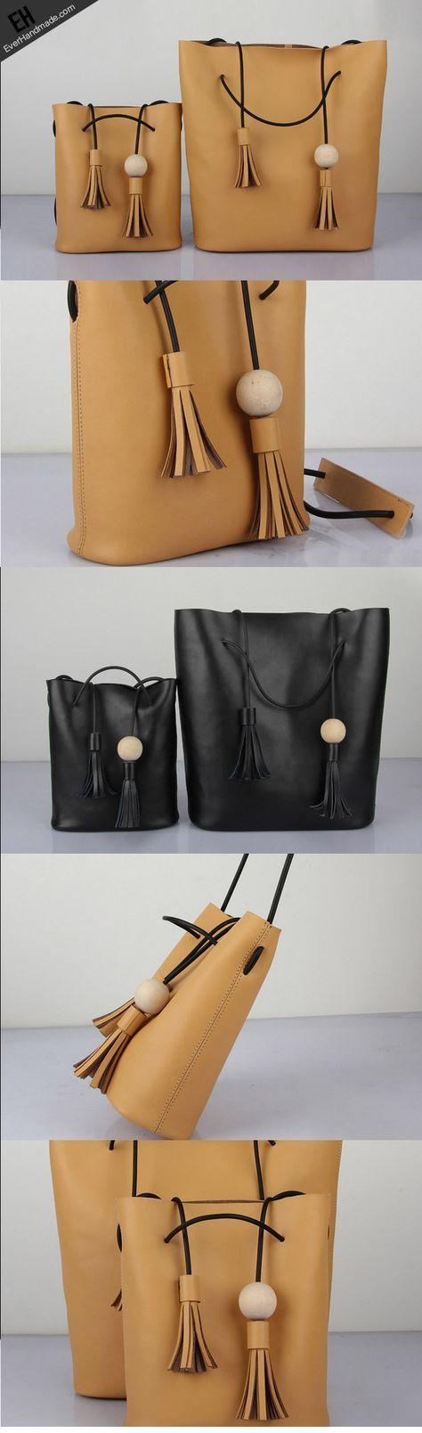 Handmade Leather bucket bag shoulder bag Yellow black for women leather crossbody bag