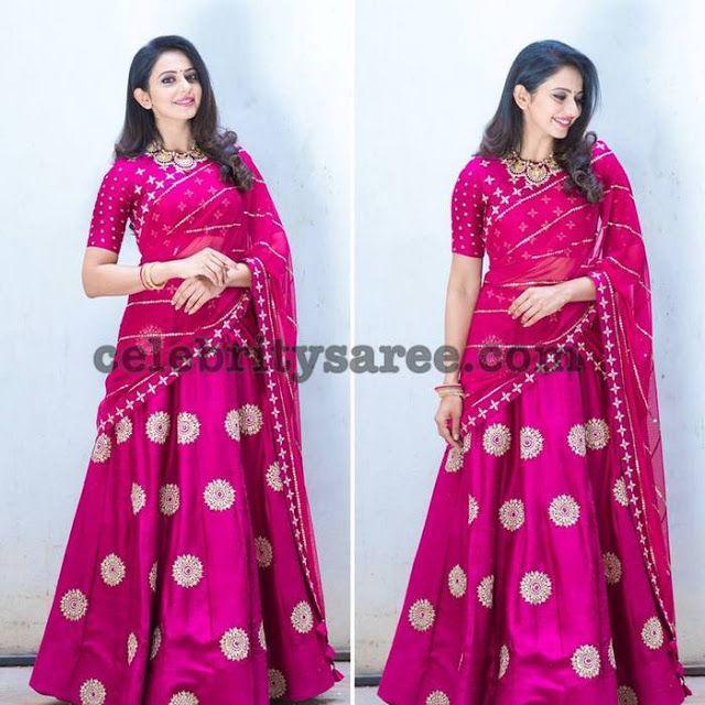 Rakul Preet Singh Pink Half Saree - Saree Blouse Patterns