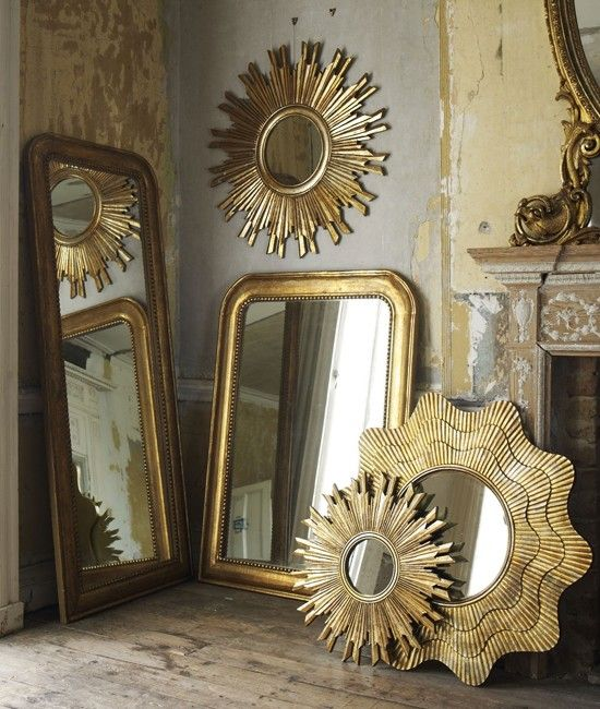 Graham and Green mirrors - thinking a gold sunburst mirror to go above Jacobean table