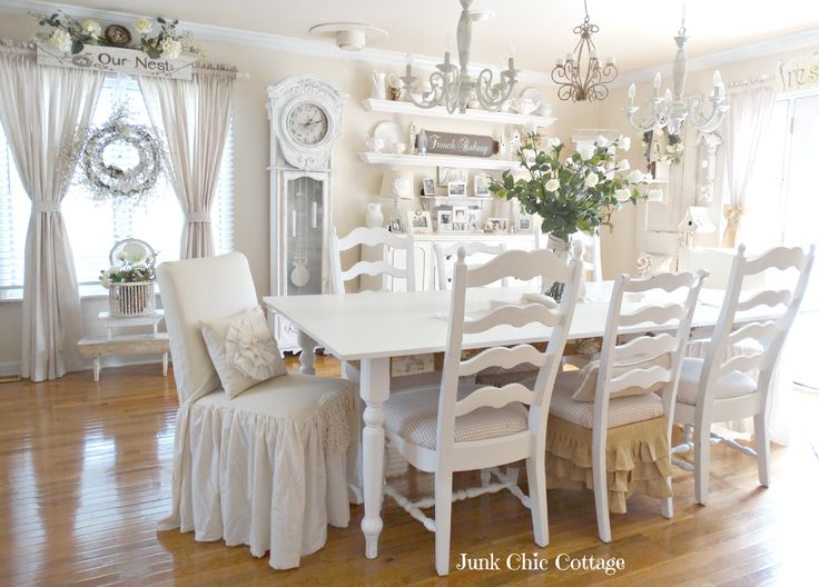 1000 ideas about cottage dining rooms on pinterest junk chic cottage dining rooms and cottages - Shabby chic dining room chair covers ...