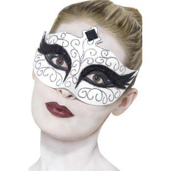 Zwaan oogmasker wit met zwart voor volwassenen. Black Swan oogmaskertje met zwarte glitter versiering.