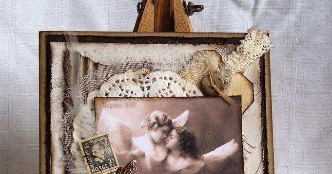 Har laget et vintage kort, med både fjær, osteklut, frimerker og kakeserviett. Er litt usikker på hvor sommerfuglen kommer fra, tror det er ...