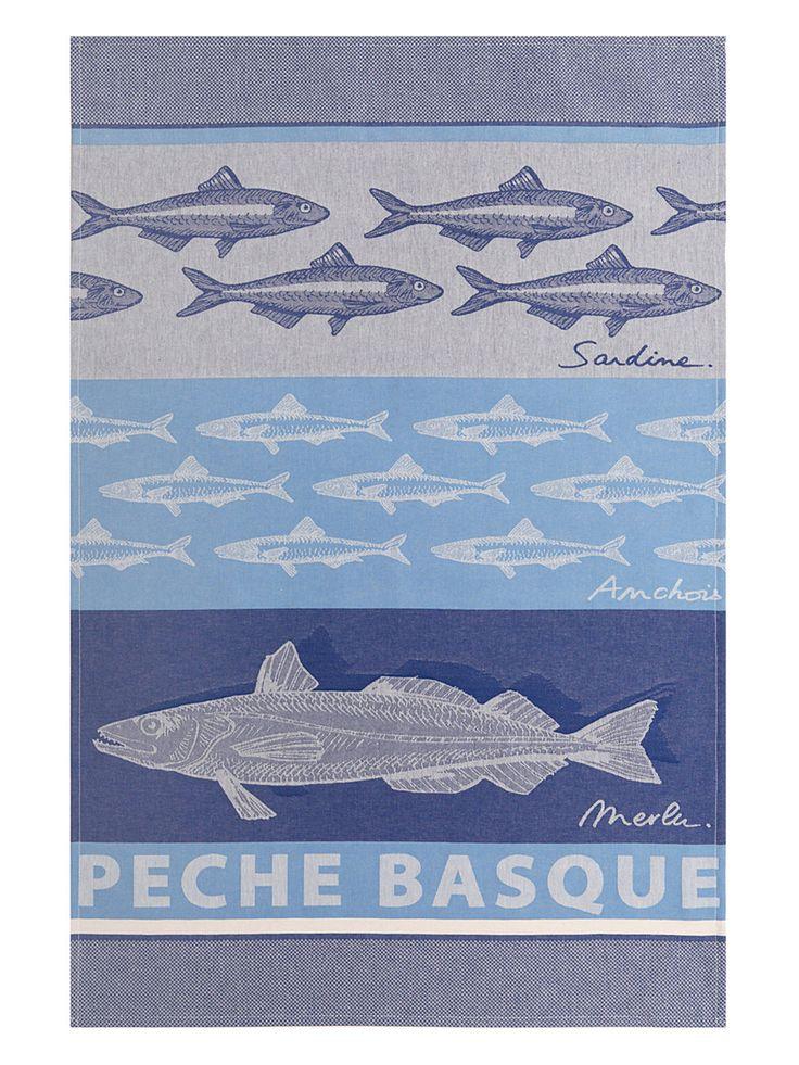 Basque Fish Tea Towel by Jean Vier at Gilt