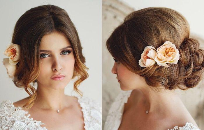 lange Haare mit schönen Blumen gerundete Frisur niedliche Locken weißes Kleid