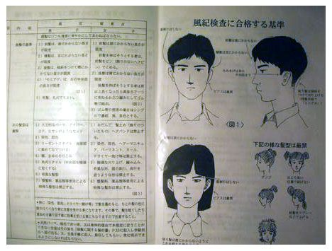 Hair length rules at high school in Japan.: