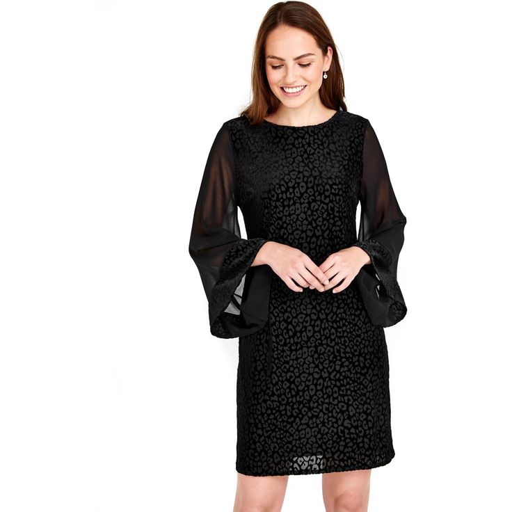 This animal print jacquard dress is elegant and stylish. Perfect for going out to dinner, this black dress has floaty sleeves for a timeless look. Update this with heeled sandals and diamante clutch to look flawless.