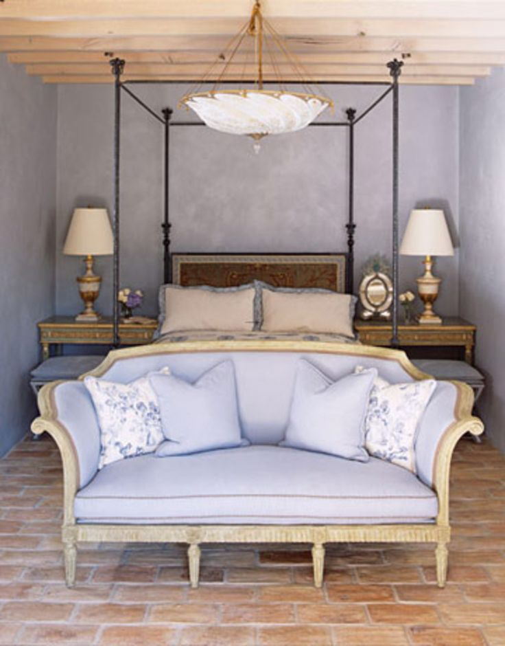 Trends 2014 Romantic Bedroom Decorating Ideas : Small Lavender Romantic Bedroom  Design With Black Iron Frame Canopy Bed And Lavender Fabric Sofa Also Twin  ...