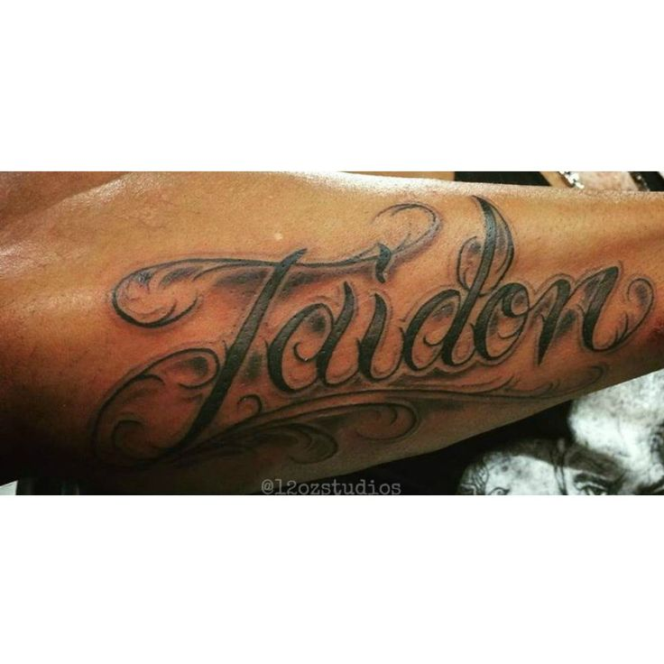 Fresh black and grey fancy lettering name script cursive for Tattoo forearm writing