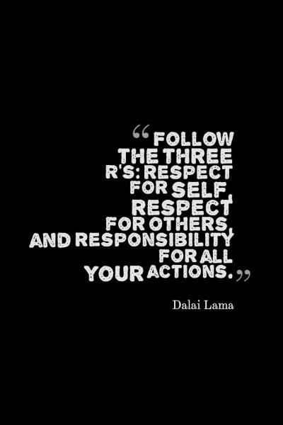 """Follow the three R's: respect for self, respect for others, and responsibility for all your actions."" -Dalai Lama  #inspirationalquotes #inspiration #quotesoftheday #quotes #inspiration #responsibility #motivation #motivationalquotes #lifequotes"