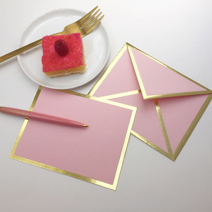 Nothing could be sweeter than receiving this pretty pink card in the mail. Make someone's day today! - Flat pink card with gold foil border - Includes pink envelope with gold foil border - Includes in                                                                                                                                                     More