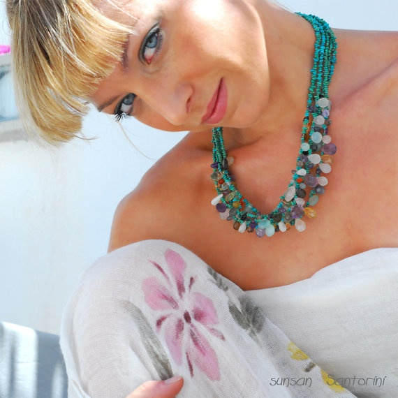 Turquoise and Multi Color Gemstones Necklace @GreekMythos