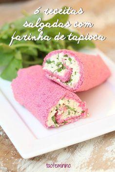 Dá pra fazer várias coisas diferentes com esse ingrediente tipicamente brasileiro! Na foto, wrap de tapioca roxa