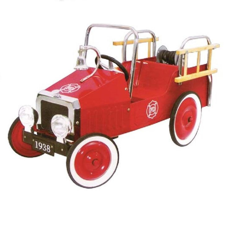 Compra online aquí este coche de pedales camión de bomberos de diseño clásico de chapa metálica perfecto para niños de entre 3 y 7 años y es regalo ideal.