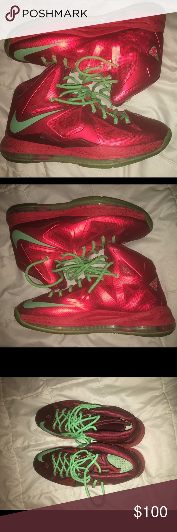 "Nike Lebron 11 ""Christmas"" Size 11.5 The shoes are size 11.5 and they are in great condition, is say about a 9.2/10 and I've worn them 3 times...even the bottoms are still crispy. Enjoy! Nike Shoes Sneakers"