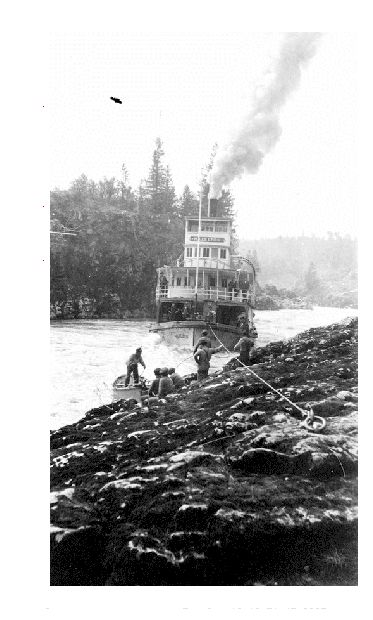 The Hazelton Lining Through Kitsalas Canyon. The Skeena River is British Columbia's fastest flowing waterway, often rising as much as 17 feet in a day and can fluctuate as much as sixty feet between high and low water. For the steamboat captains, that made it one of the toughest navigable rivers in British Columbia. Nevertheless, at least sixteen paddlewheel steamboats plied the Skeena River from the coast to Hazelton from 1864 to 1912.