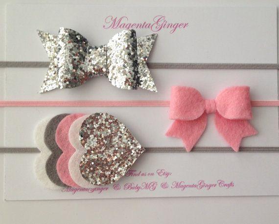 Silver Grey and Pink Baby/Girl Felt Bow Felt and por MagentaGinger