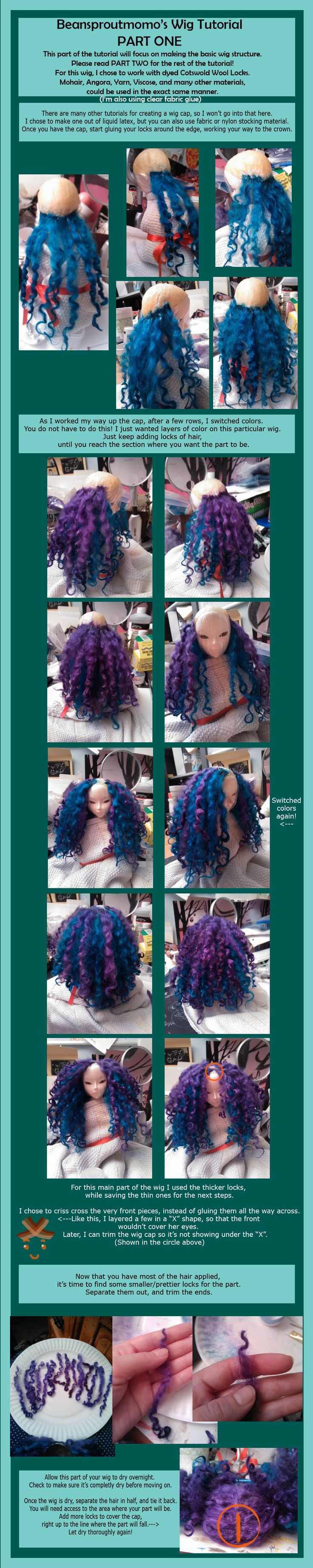 BJD Wig Tutorial PART ONE by *BeanSproutMomo on deviantART
