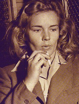 """Frances Farmer in jail 1943. Her rejection of Hollywood would be her eventual demise. Not one Hollywood """"friend"""" would help Frances during her times of trouble. She stood on her own and lost her independance, freedom, and reputation.  The breaking point was her steel will to fight, defy, and challenge authority. She never backed down. Ever...  I admire her deeply and repect her for it. MH"""