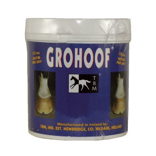 GROHOOF - 21 OZ by TRM Ireland. $29.95. GRO HOOF is a specialized feed supplement for hooves.  It is formulated to nourish every tissue in the hoof horn to optimize conditions for maximum growth.  Each serving of GRO HOOF contains 37.5mg of Biotin to ensure optimal levels of this nutrient.  GRO HOOF also contains: - Calcium, an essential mineral for keratin stabilization and cohesion in the hoof wall.  Research has shown that a calcium deficiency can predispose hooves...