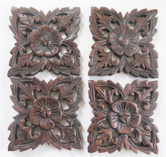 satz von 4 natrliches bett kopfteil 6 skulptur blume - Hausgemachte Kopfteile Fr Betten