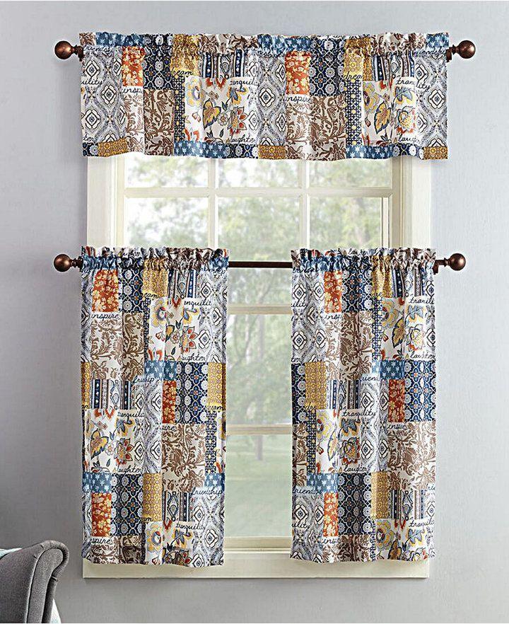 Lichtenberg No. 918 Antoinette 3-Pc. Patchwork-Print Microfiber Rod Pocket Kitchen Curtain Set Bedding