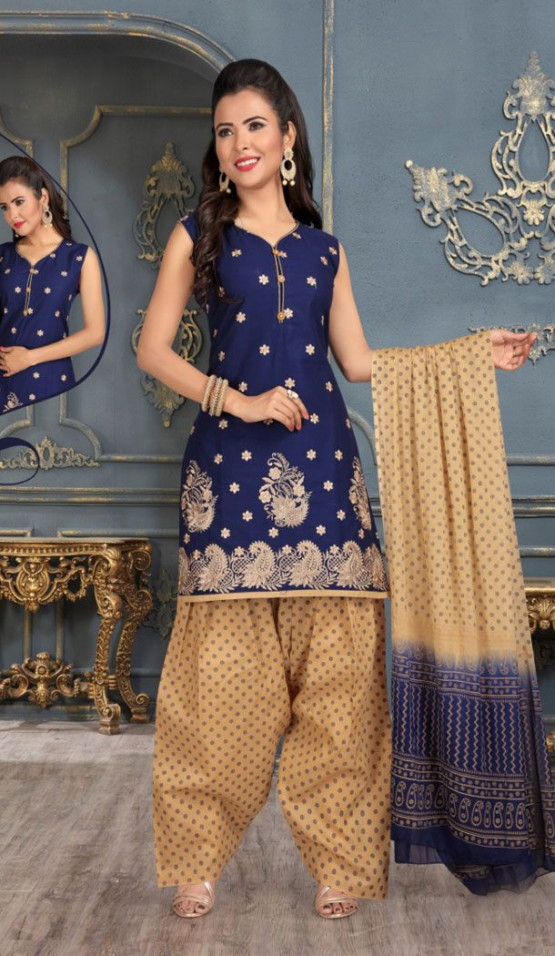 9c6fea593f Navy Blue Color Cotton Party Wear Readymade Salwar Kameez Online Shopping  Up to 60% OFF Discount #punjabi #patiyalasuit #salwarkameez #readymadesuit  ...