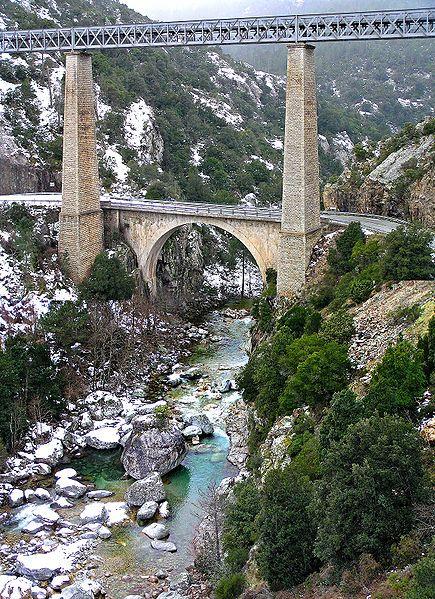 Le Vecchio et le Pont Eiffel -Venaco - Haute Corse - Corsica, France.The bridge spans the river Vecchio between Vivario and Venaco (Haute-Corse). This bridge was built for the Corsican railways between 1891 and 1893.