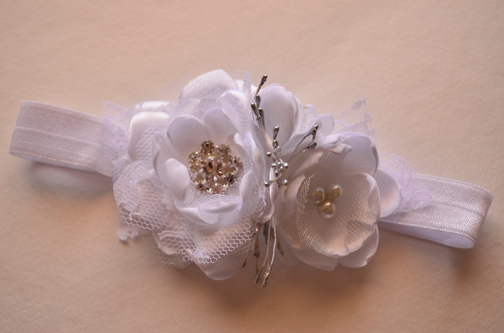 Babies Blessing or Baptism Headband - Pure White and Silver. $12.00, via Etsy.