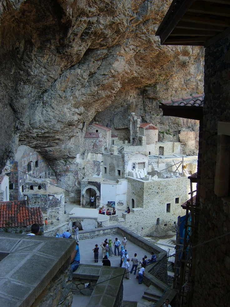 """Sümela Monastery(Turkish:Sümela Manastırı),Greek:Μονή Παναγίας Σουμελά, i.e. monastery of the Panaghia (""""All Holy"""", the Greek name for theVirgin Mary) at Melá mountain is aGreek Orthodoxmonastery, standing at the foot of a steep cliff facing the Altındere valley, in the region ofMaçkain theTrabzon Provinceof modernTurkey. At an altitude of about 1,200 metres (3,900ft), it is a major tourist attraction ofAltındere National Park."""