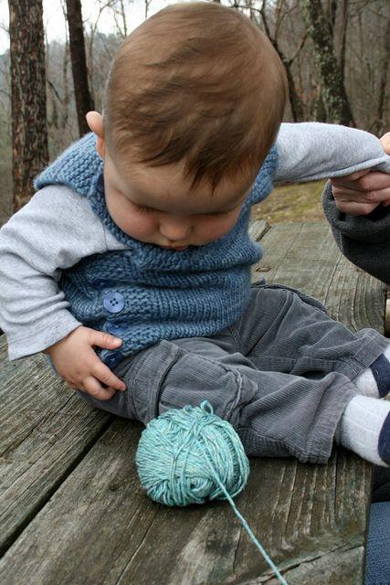 Pebble (Henry's Manly Cobblestone-Inspired Baby Vest) by Nikol Lohr. malabrigo Worsted, Stone Blue.