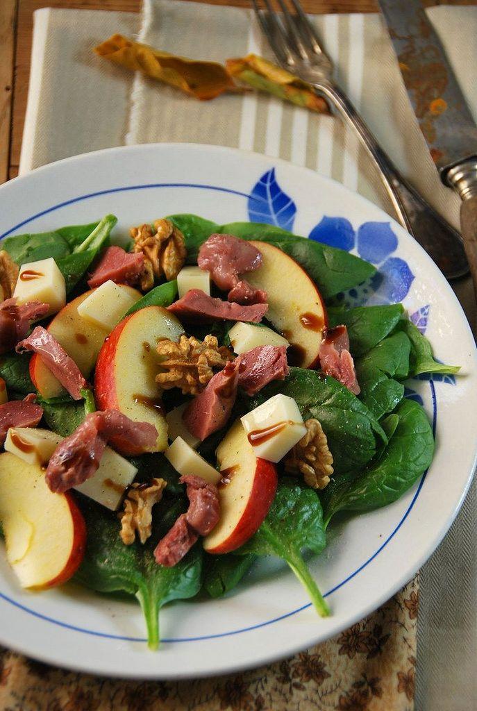 Salade composée d'automne aux épinards et gésiers - Recette facile et rapide
